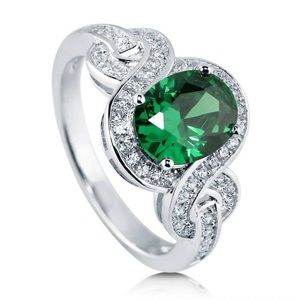 Jewelry - Sterling Silver Simulated Emerald CZ Ring 2.12ctw